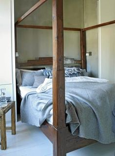 Framed and wooden bed