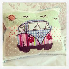 Stunning little camper van patchwork cushion Approx 24x19cm Beautiful