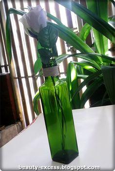 Botella de aceite convertida en florero #reciclaje #vidrio #diy