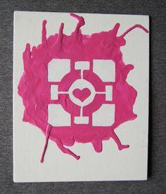Portal  Companion Cube Melted Crayon Art van Meltology op Etsy