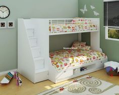 The Sleepland Beds® Trio triple sleeper bunk bed in white, beech and white, or oak finish. This bunk has a modern and trendy design with extra storage space built in. The top bunk is single and the lower bunk is a small double. Trio Bunk Beds, Bunk Beds Small Room, Wooden Bunk Beds, Bunk Beds With Storage, Cool Bunk Beds, Kids Bunk Beds, Bed Storage, Storage Stairs, Small Rooms