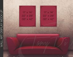 11x14 22x28 33x42 Red Sofa Wall Interior 1 by TanyDiDesignStudio