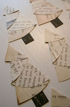 vintage paper trees- made from a half circle, cute for tags