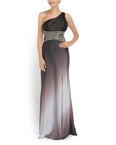 One+Shoulder+Ombre+Gown