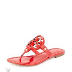 5305a54600be Tory Burch Logo Sandal Tory Burch Miller Patent Logo Sandal in Red Orange. (
