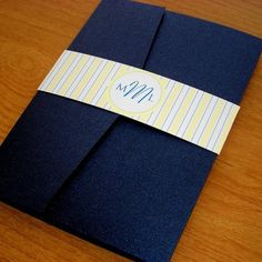 Navy and Yellow Wedding Invitation Set Sample - Striped Pocket Invitation - Modern Yellow and Navy Blue Wedding. $5.30, via Etsy.