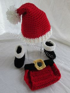 Santa Claus Crochet Photo Prop   Sized 0-3 Months  Get those absolutely cute pics of your little one as SANTA!  Grab it now before they grow too big to wear it!  If you're a photographer, don't wait to snatch this up for your prop collection.  Always handmade with love!  This comes fr...