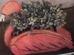 """21"""" Hand Carved Flamingo planter  (251) 928-9931"""
