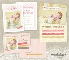 Hey, I found this really awesome Etsy listing at http://www.etsy.com/listing/153362770/girl-birth-announcement-set-templates
