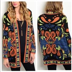 Bold Print Cozy Cardi ✨ Comment your size below and i'll make you a separate listing100% acrylicCozy and soft, perfect for those chilly days/nightsFeatures a bold print all over, long sleeves, and an open frontPrice is firm15% off bundlesReduced shipping on all orders  Boutique Sweaters Cardigans