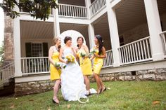Photograph of bridesmaids. Yellow and Aqua Outdoor Wedding at Traveler's Rest Plantation in Nashville, TN. Photographed by Erin Lee of www.thephotographycollection.com. All details by the bride- myladydye.com White Parasol.