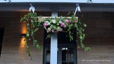 Wedding ceremony #hanging #floral hedge