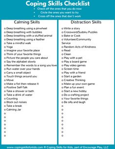 Coping skills checklist. Can be used for all aspects of mental health & wellbeing from therapy to education. Allow clients/students then to work on, identify & develop their own