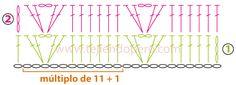 Cómo tejer un punto fantasía a crochet con varetas y abanicos