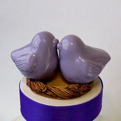 Lavender Love Bird Cake Topper by danceswithclay on Etsy