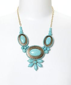 Another great find on #zulily! Gold & Turquoise Oval Bib Necklace #zulilyfinds