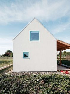 Slovakian studio JRKVC has designed a house near Bratislava with a glazed gable wall to fill the interior with light and focus views on a nearby field. Cabinet D Architecture, Space Architecture, Gable Wall, Glazed Walls, Natural Building, Beautiful Homes, Modern Design, Home And Family, Tiny House
