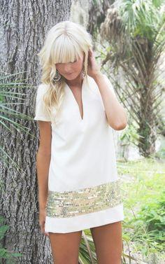 white dress,gold band
