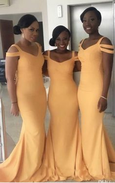 Prom Dresses Simple, Bridesmaid Dresses Yellow, Bridesmaid Dresses For Cheap, Prom Dresses Mermaid Bridesmaid Dresses 2018 Mermaid Bridesmaid Dresses, Elegant Bridesmaid Dresses, Mermaid Evening Dresses, Yellow Bridesmaids, Bridesmaid Outfit, Wedding Guest Gowns, Wedding Party Dresses, Wedding Attire, Wedding Parties