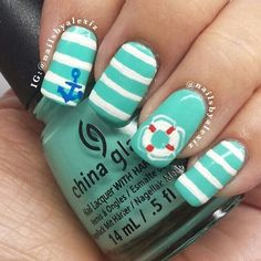 Nail Designs That Are So Perfect for Summer 2019 summer nails; Nautical Nail Designs, Nautical Nail Art, Diy Nail Designs, Short Nail Designs, Beachy Nail Designs, Anchor Nail Designs, Anchor Nail Art, Bright Nail Art, Bright Colors