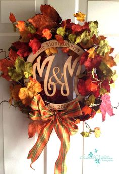 "Fall door decor.  Perfection! I love this new ""family "" monogram. initialoutitters.net/jane"