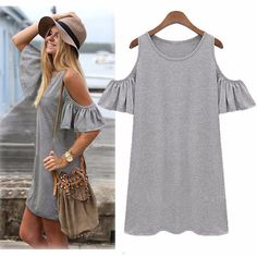 82e7079703e0 2.68AUD - Women Sweet Summer Off Shoulder Strap Butterfly Loose Long Tops  Party Mini Dress