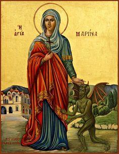 Marina of Thissio, Orthodox Church Byzantine Icons, Byzantine Art, Religious Images, Religious Art, Religious Paintings, Religious Icons, Ste Marguerite, St Margaret, Orthodox Christianity