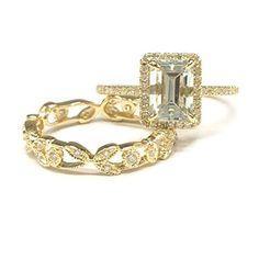 $658 Emerald Cut Aquamarine Engagement Ring Sets Pave Diamond Wedding 14K Yellow Gold,5x7mm,Vintage Band