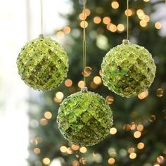 Our set of Small Iced Metallic Green Ornaments is the perfect touch for your Christmas tree! #Kirklands #HollyJolly #holidaydecor