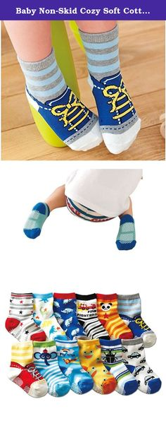 Baby Non-Skid Cozy Soft Cotton Socks 12 pair baby socks funny for 0-3 Years Baby. About The Description: -Non skid socks toddler material:cotton (85% cotton 15% spandex), they are very soft and high quality. -These material are thicker than usual socks, making these baby socks extra cozy, comfy, yet cute and fashionable. -The baby socks ,keep little toes warm in style. Cute lovely soft cartoon Sock -Baby socks with rubber soles size: Non Skid Socks Toddler Size:frame feet of sock: 4.7-6…