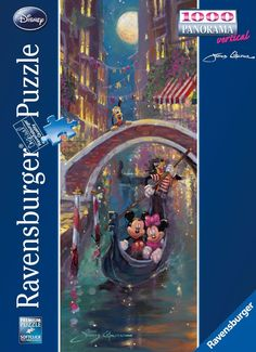 Mickey and Minnie mouse and a very special gondolier ride the Grand Canal in Venice, Italy on this fabulous Ravensburger jigsaw puzzle.