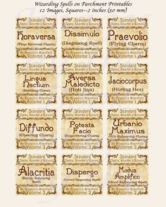 Fantasy Labels Inspired by Harry Potter -- Wizarding Spells, EXTRA LARGE SQUARES, 1.5 inch, 2 inch, and 3 inch squares (38mm, 50mm, 75 mm)