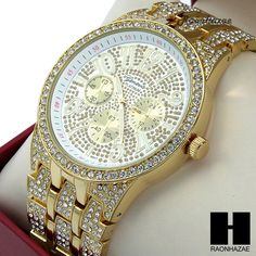 MEN GENEVA LUXURY HIP HOP ICED OUT 14K GOLD FINISHED LAB DIAMOND RAPPER WATCH 04 #Geneva #LuxuryDressStyles