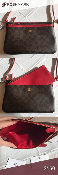 "NWT COACH CROSSBODY WITH REMOVABLE  POUCH NWT Coach Crossbody with removable pouch! Brown with Coach signature C print and red leather trim! Coated canvas that is durable and easy to clean! Never used! Will make for a great present this holiday season! Retails for $225 Measurement: 10""(L)x6.5""(H)x 1.5""(W) Coach Bags Crossbody Bags"