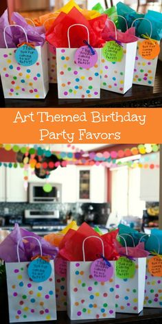 DeCelie's Art party themed bags and circle/confetti banner Kids Art Party, Craft Party, Kid Party Favors, Kids Party Bags, Paper Party Bags, Party Favor Bags, Goodie Bags, Rainbow Birthday Party, 6th Birthday Parties