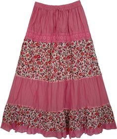 Laced Pink Flowers Long Skirt, Cadillac Pink Floral Women`s Skirt – fashion Skirt Outfits, Dress Skirt, Rosa Rock, Boho Fashion, Fashion Dresses, Mode Top, Flower Skirt, Skirt Patterns Sewing, Hippie Style