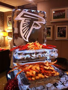 2 Tier Food Display With Logo Or Monogram Ice Sculpture