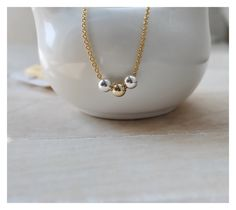Round gold beads necklace, round silver beads necklace, round ball necklace, 14K gold filled ball necklace, ball necklace, gold necklace by BeaucoupdeBeads on Etsy