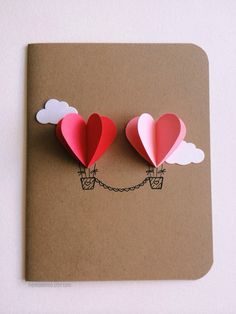 Couple Heart Hot Air Balloon Card red / pink by theadoration