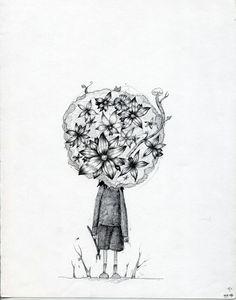 욕심,질투,시기,욕망,꽃,일러스트,소년,환상,나무