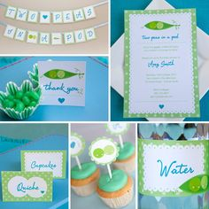 Two Peas In a Pod Twin Baby Shower - Full Printable Collection. $30.00, via Etsy.
