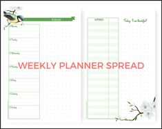 Free A5 planner printables, Free printable planner pages, half size planner, mini planner, weekly planner spread, March bullet journal layout, printable bullet journal pages, spring design, to do list, expense tracker