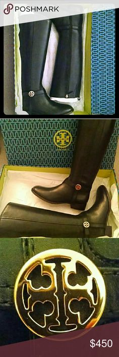 "NIB Tory Burch Bristol Boot in Black Sz9 Tory Burch brings you the ultimate versatility with this medallion-adorned riding boot. Smooth leather with golden hardware. Round toe; tonal topstitching. Leather harness strap with double-T medallion. Full inside zip for ease of dress. 15 1/2""H shaft; 15"" circumference. 1 1/2"" stacked heel. Padded footbed with logo fabric lining. Leather outsole with rubber inset. ""Bristol"" is made in Brazil.  NIB gorgeous leather riding boot by Tory Burch.  This…"