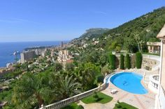 View of Monaco from Luxury mansion in Roquebrune Cap Martin, French Riviera