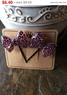 Spring Sale Pink on black leopard skin bows bobby pins by EMTWTT