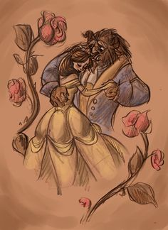 sweet pencil drawing. I love artwork of Belle and the Beast. They are always so beautiful and sweet. <3