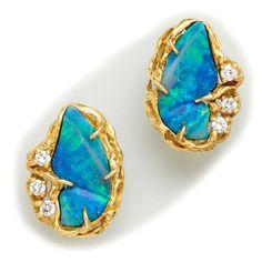 Black Opal, Diamond And Gold Earrings - Arthur King Opal Earrings, Opal Jewelry, Jewelry Box, Fine Jewelry, Unique Jewelry, Jewlery, Tribal Jewelry, Gold Jewellery, Jewelry Stores