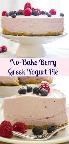 A delicious No-bake Greek Yogurt Pie, an easy recipe, pick your favorite Greek Yogurt flavor. The perfect family SundaySupper dinner dessert. #SundaySupper