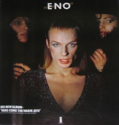 Eno instore poster. Diamanda Galas, John Luke, Milton Glaser, Roxy Music, Island Records, British Rock, Man Ray, Him Band, Glam Rock