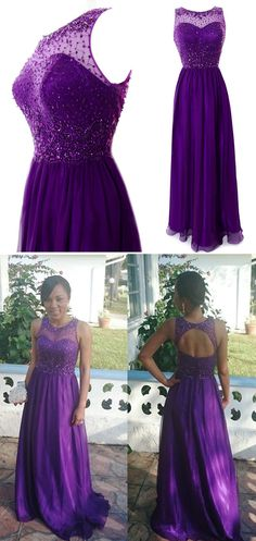 Stunning A-line Scoop Neck Open Back Chiffon Long Prom Dress With Beading   #prom #evening #party #dress